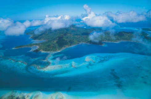 Aerial View of Bora Bora, Society Islands, Tahiti, French Polynesia